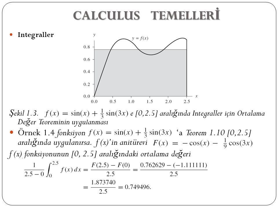 CALCULUS TEMELLERİ Integraller. Şekil 1.3. e [0,2.5] aralığında Integraller için Ortalama Değer Teoreminin uygulanması.